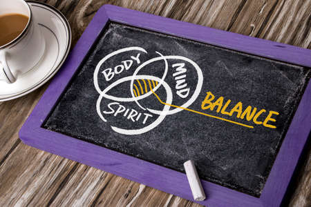 Foto de body mind spirit balance concept hand drawing on blackboard - Imagen libre de derechos