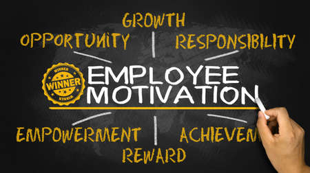 Photo for employee motivation concept on blackboard - Royalty Free Image