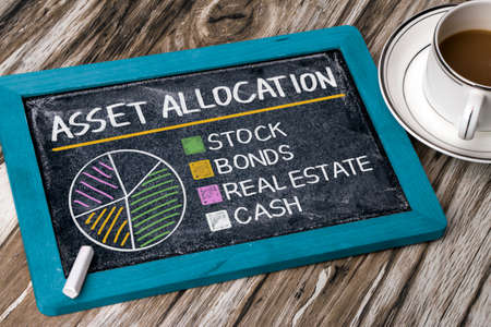 asset allocation concept graph on blackboard