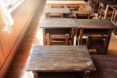 Foto de Study desk in the classroom. Elementary school in Japan. - Imagen libre de derechos