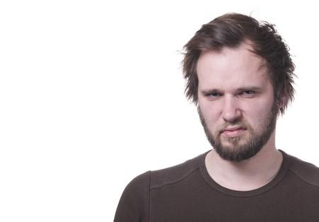 Grumpy man with copy-space.