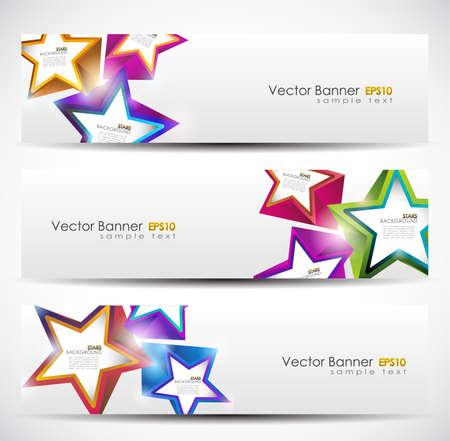 Stars Banner Set. 160x600. Vector Illustration.