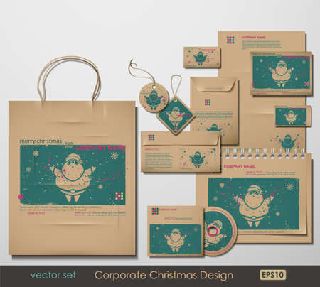 Foto de Corporate Christmas Design. Santa Clause theme. Two colors different material for printing  the old fashioned way, but trendy. Print on blank brown paper. Vector Illustration.  - Imagen libre de derechos
