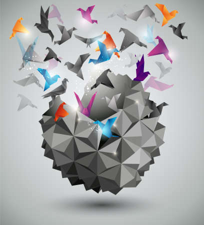 Illustration for Paper Freedom, Origami abstract vector illustration.  - Royalty Free Image