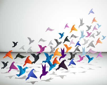 Illustration for Indoor flight, Origami Birds start to fly in closed space.  - Royalty Free Image