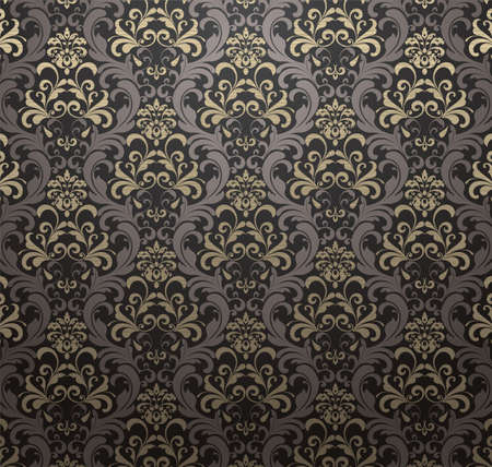 Damask patterned drapery Background. Vector Illustration.
