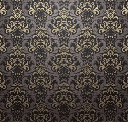 Damask patterned drapery Background. Vector Illustration.