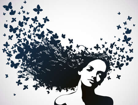 Illustration for Woman with butterflies flying from hair   - Royalty Free Image