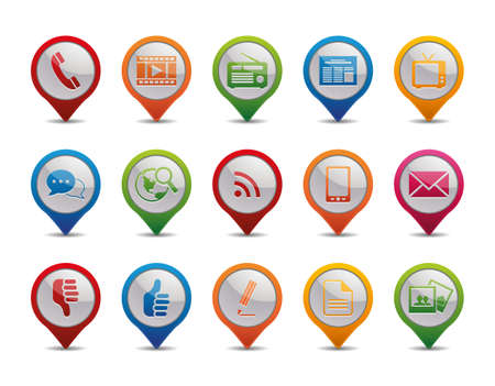 Photo for Communication icons in the form of GPS icons   - Royalty Free Image