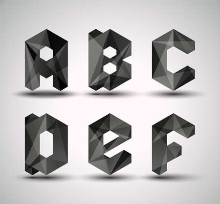 Trendy Black Fractal Geometric Alphabet  ABCDEF, Vector Illustration