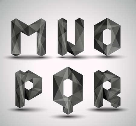 Illustration for Trendy Black Fractal Geometric Alphabet  MNOPQR, Vector Illustration   - Royalty Free Image