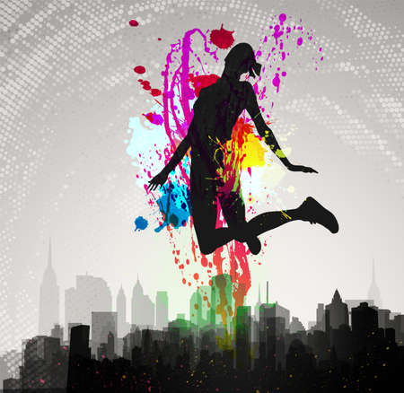 Girl jumping over city