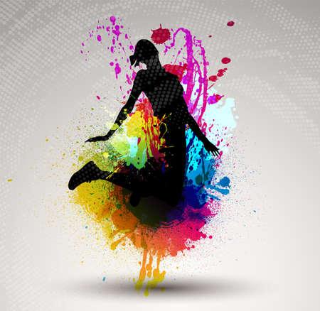 Girl jumping over ink splash background