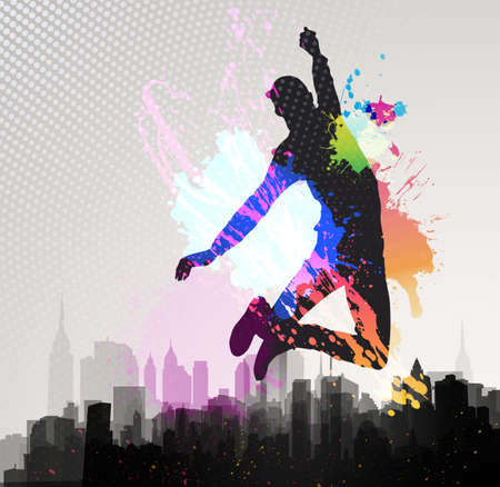 Young man jumping over city background
