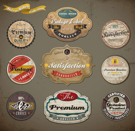 Retro styled old papers Label collection.
