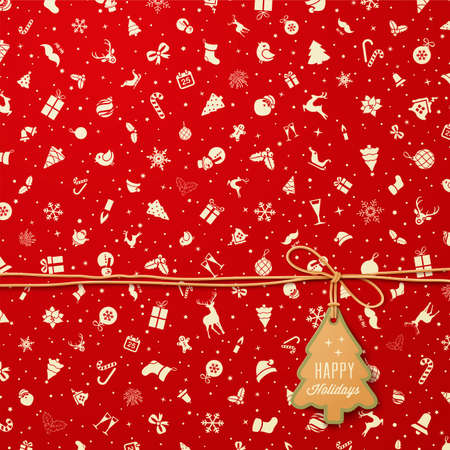 Foto de Holiday Seamless Pattern  with Christmas tree tag - Imagen libre de derechos