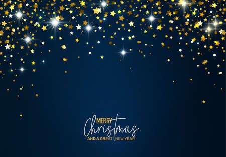 Ilustración de Holiday Greeting Card with golden stars - Imagen libre de derechos