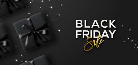 Ilustración de Black Friday Sale. Black Friday Horizontal Banner. Gift boxes and confetti  over dark background. - Imagen libre de derechos