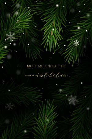 Illustration pour Christmas frame with fir tree branches and hand lettering. Vector Illustration. - image libre de droit