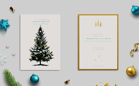 Illustration pour Holiday Greeting card, front and back view. Conifer tree with gold ornaments. View including background with baubles, fir tree cuttings, glitter and confetti. Vector Illustration. - image libre de droit