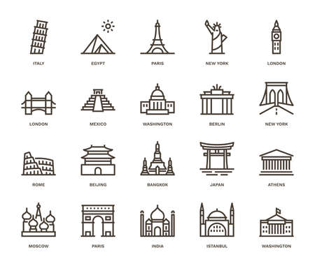 Illustration pour International Landmarks and Monuments, Monoline concept.  The icons were created on a 48x48 pixel aligned, perfect grid providing a clean and crisp appearance. Adjustable stroke weight. - image libre de droit