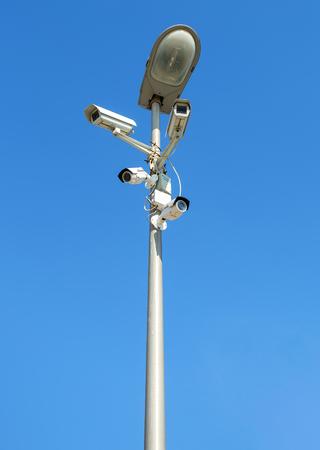 Samara, Russia - September 3, 2017: Surveillance cameras mounted on the street lamp