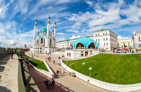 Kazan, Russia - June 10, 2018: Fisheye view on Kul Sharif mosque in Kazan Kremlin, one of the largest mosques in Russia