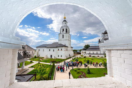 Sviyazhsk, Russia - June 11, 2018: Bell tower of Sviyazhsk Assumption Monastery