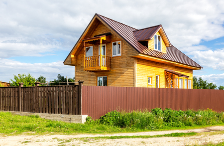 Sviyazhsk, Tatarstan, Russia - June 11, 2018: Modern wooden country house at the Sviyazhsk island in summer sunny day