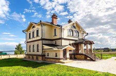 Sviyazhsk, Tatarstan, Russia - June 11, 2018: Modern country house at the Sviyazhsk island in summer sunny day