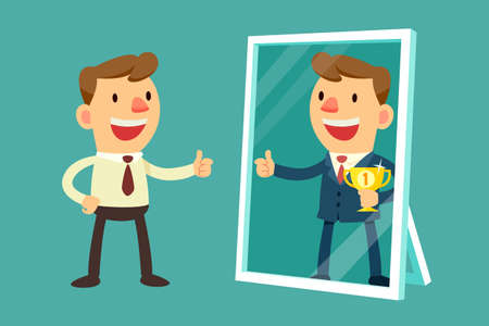 Illustration pour Illustration of business man see himself being successful in a mirror - image libre de droit