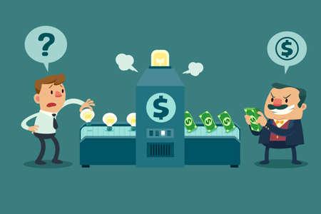 Illustrazione per Illustration of employee put his idea bulb in a machine but his boss get all money - Immagini Royalty Free