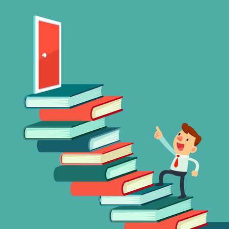 Illustration pour Illustration of businessman walk upward on book stair to the door - image libre de droit