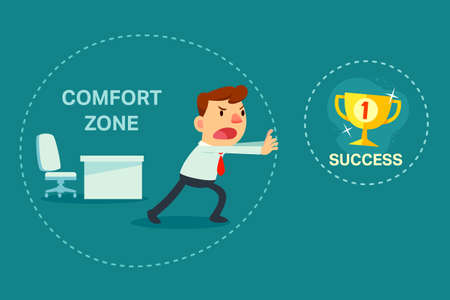 Illustration of businessman try to break out of comfort zone to success