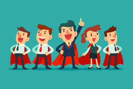 Vektor für Super business team - Illustration of super leader and super businessmen in red capes - Lizenzfreies Bild