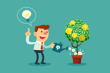 Ilustración de Happy businessman watering money tree with idea bulbs. - Imagen libre de derechos
