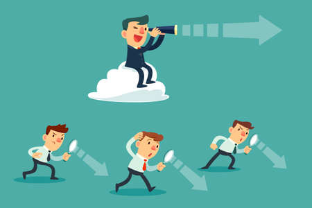 successful businessman with telescope sit on cloud above others. Business Vision Concept.