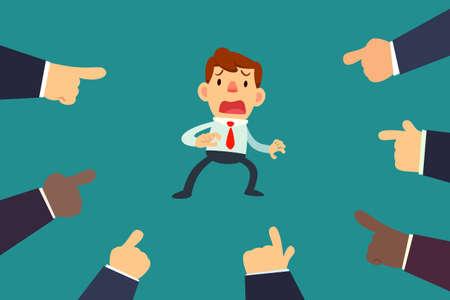 Illustration pour Illustration of businessman with fingers pointing at him - image libre de droit