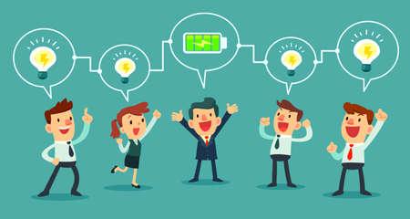 Illustration pour successful businessman charging battery power to his business team - image libre de droit