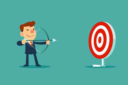 Ilustración de successful businessman aiming target with bow and arrow - Imagen libre de derechos