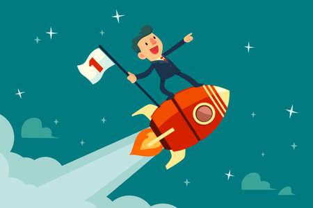 Illustration pour Happy businessman holding number one flag standing on rocket ship flying through starry sky. Start up business concept. - image libre de droit