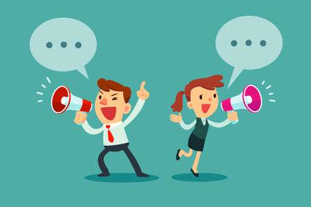 Illustration pour Happy businessman and businesswoman talking into megaphone. Make an announcement. - image libre de droit