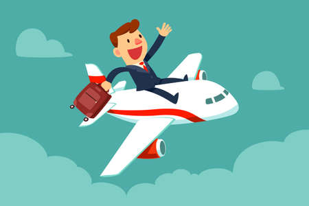 Illustration for Happy businessman with suitcase sit on top of airplane. Business travel and transportation concept. - Royalty Free Image