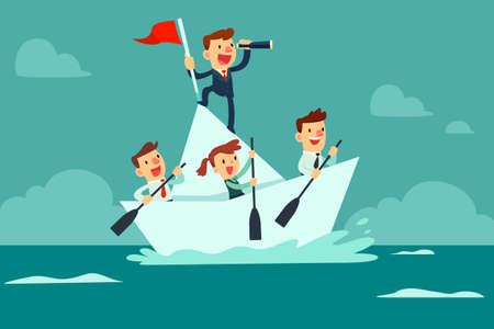 Ilustración de Businessman with spyglass lead business team sailing on paper boat in the ocean - Imagen libre de derechos