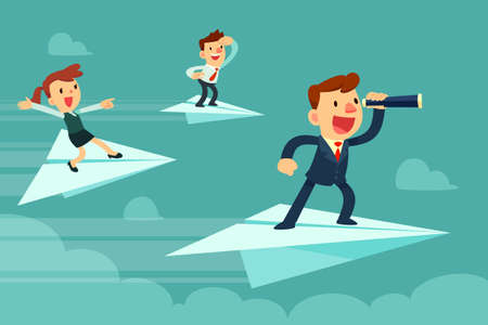 Ilustración de Business team on paper airplanes. Businessman with spyglass and his team flying on paper airplanes searching for new opportunity. - Imagen libre de derechos