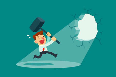 Illustration for Businessman holding a hammer breaking through the wall. Business concept. - Royalty Free Image