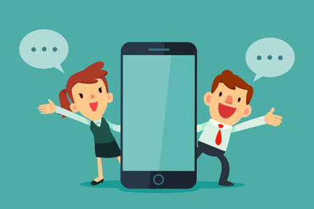 Illustration pour Man and woman talking beside phone with blank screen. - image libre de droit