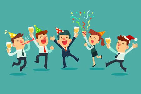 Ilustración de Happy business team in the party. Businessman and businesswoman raising champagne glasses celebrating in office party. - Imagen libre de derechos