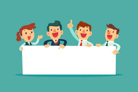 Ilustración de Team of happy business people holding blank board. Business presentation or announcement - Imagen libre de derechos