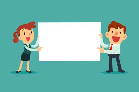Ilustración de Happy business people holding blank sign. Business presentation or announcement - Imagen libre de derechos